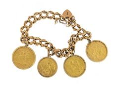 9ct gold bracelet mounted with three gold sovereigns and a half sovereign comprising 1889,1909, 1979