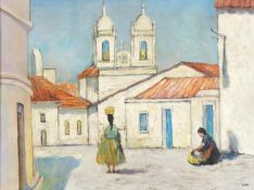 Venice with two figures, Irish school oil on board, framed, 60cm x 44.5cm excluding the frame