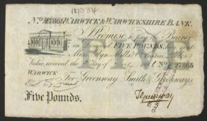 19th century Warwick & Warwickshire Bank five pound note with cancellation stamp, no 27865, dated