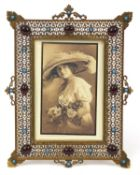 Ornate pierced brass easel photo frame set with turquoise and red cabochons, 21.5cm high x 16cm wide