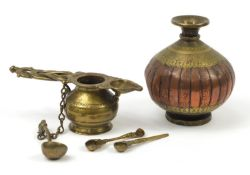 Antique Continental bronze anointing vessel with three spoons and a vase, each engraved with script,