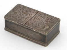 Rectangular silver double stamp box with hinged lids, London import marks 1989, 4.2cm wide, 28.8g