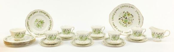 Colclough six place tea service decorated with flowers, each cup 7cm high