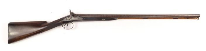 John Manton & Sons, early 19th century double barrel percussion cap shot gun with carved grip and