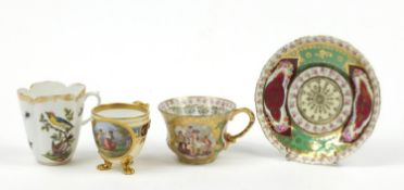 Continental porcelain including a hand painted Augustus Rex cup and a Vienna style cup with paw feet