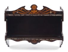 Arts & Crafts pokerwork wall hanging bookshelf with metal inlay and motto, there's nothing nath