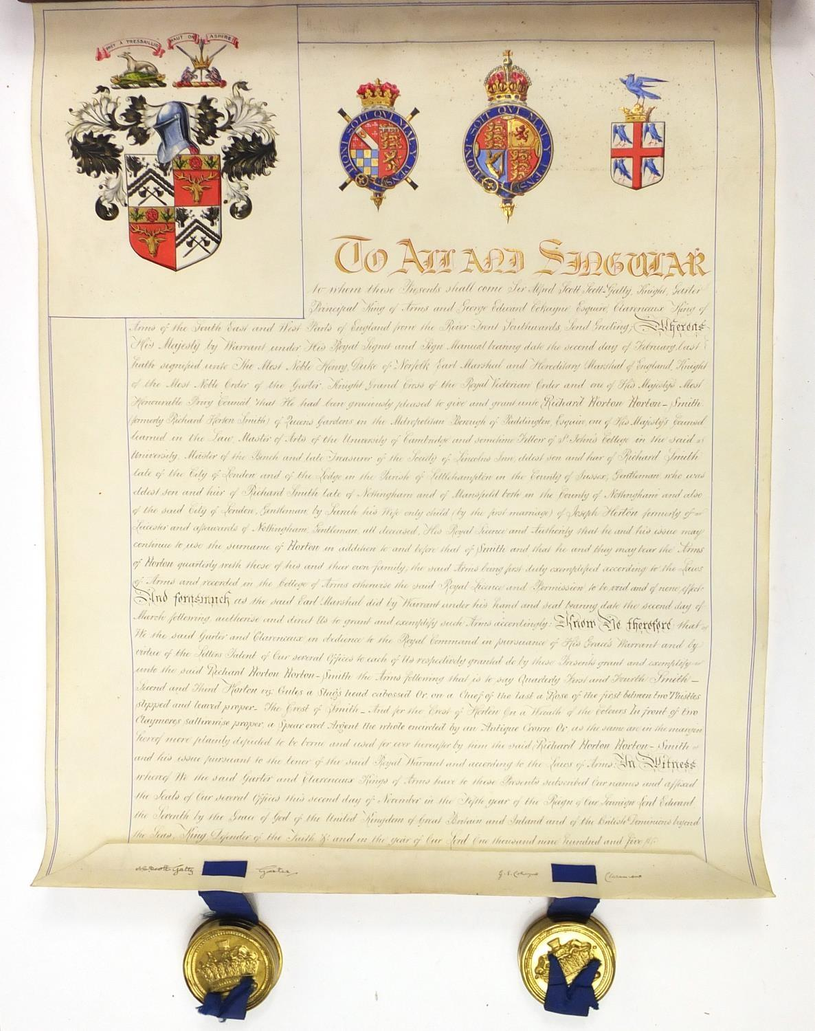 Royal interest Edward VIII Grant of Arms with wax seals and fitted tooled leather box, inscribed - Image 2 of 13
