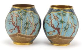 Elkington & Co, pair of aesthetic cloisonné vases of Japanese influence probably by Auguste