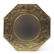 Keswick School of Industrial Arts, Arts & Crafts octagonal brass mirror embossed with stylised