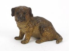 Austrian cold painted bronze puppy possibly by Franz Xaver Bergmann, impressed Depose and lozenge