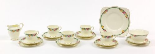 Tuscan teaware decorated with flowers including trios, each cup 7cm high
