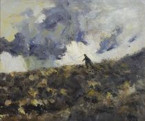 Manner of Kyffin Williams - Farmer with dog, inscribed KW verso, Welsh school oil on board,