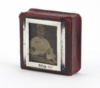 Charles Penny Brown, Victorian silver mounted leather stamp box, Birmingham 1901, 2cm H x 4.5cm W