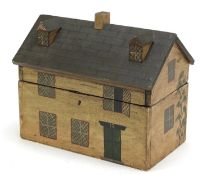 Hand painted wood box in the form of a Georgian house, 22cm H x 26cm W x 16.5cm D