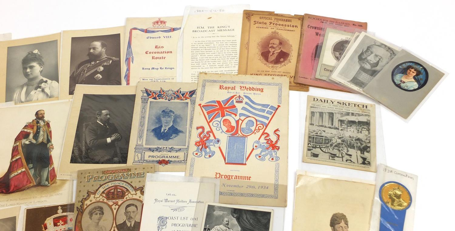 Royal and commemorative ephemera including a Queen Mary signed presentation photograph, ink - Image 6 of 9