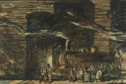 Sir Frank Brangwyn - Gasometers Petroleums, ink and watercolour, mounted, framed and glazed, 54.