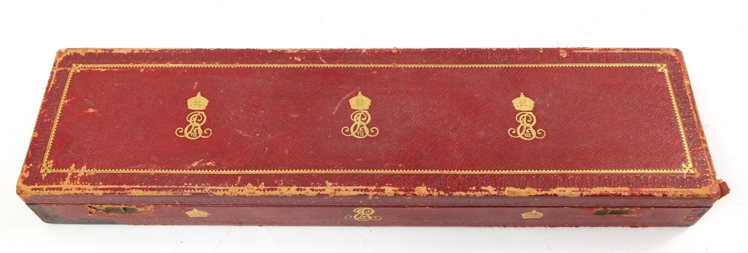 Royal interest Edward VIII Grant of Arms with wax seals and fitted tooled leather box, inscribed - Image 12 of 13