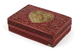 Chinese cinnabar lacquer box and cover with inset jade panel of love heart shape, the box and