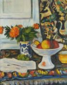 Still life fruit and vessels, Scottish colourist school oil on board, mounted and framed, 47cm x