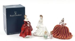 Three German half pin dolls, Royal Worcester figurine and a Royal Doulton figurine with box, the