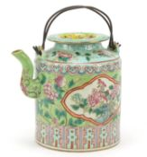 Chinese porcelain Peranakan Straits type teapot hand painted in the famille rose palette with panels