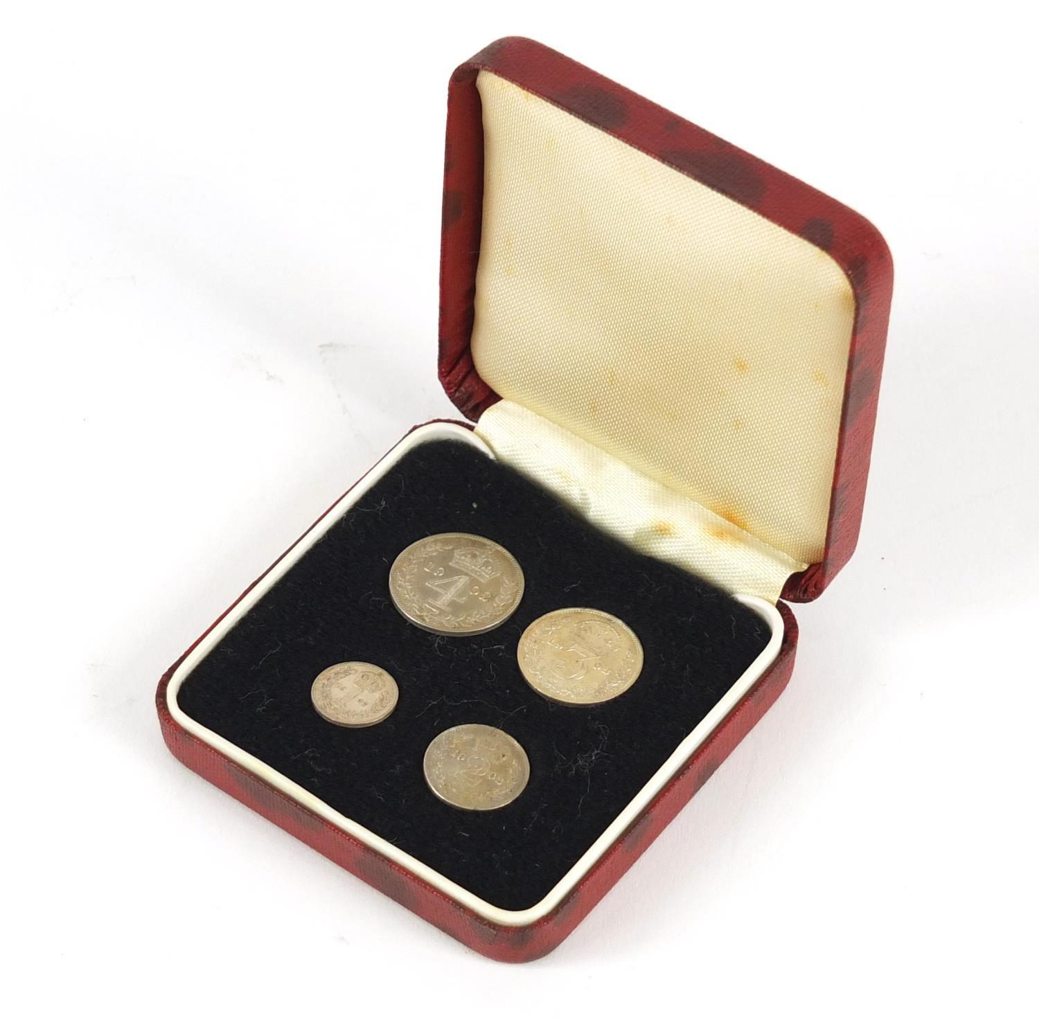 Edward VII 1902 Maundy Coin set with fitted case