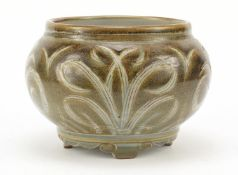 Charles Vyse, 1930's stoneware squatted vase on four scroll feet, incised with stylised foliage,