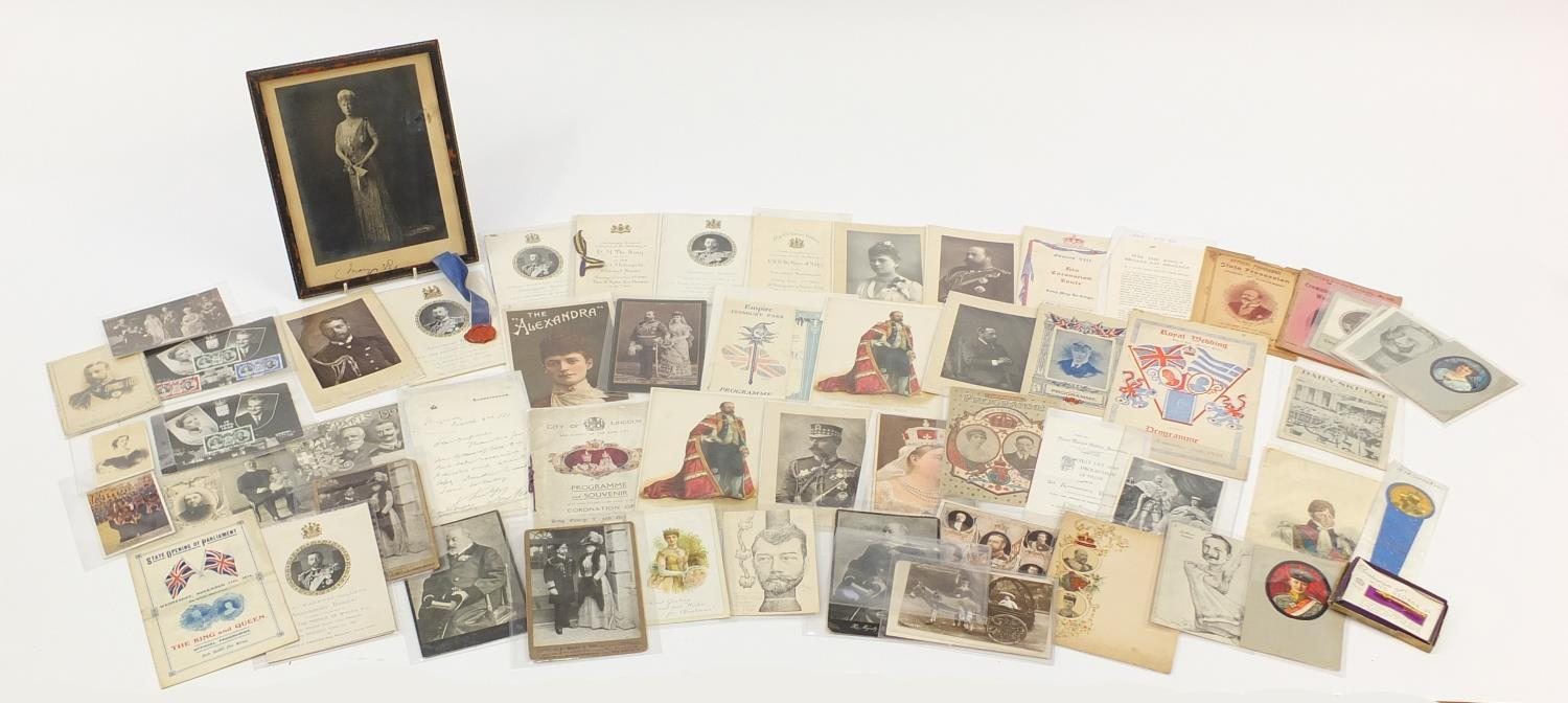 Royal and commemorative ephemera including a Queen Mary signed presentation photograph, ink