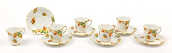 Foley china, set of six Art Deco Autumn leaf cups and saucers, each saucer 12cm in diameter