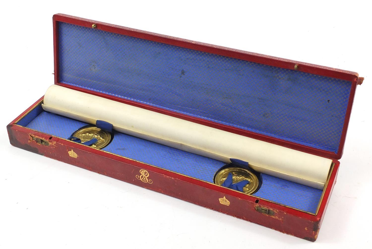 Royal interest Edward VIII Grant of Arms with wax seals and fitted tooled leather box, inscribed - Image 9 of 13