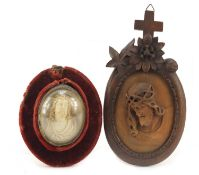 19th century fruitwood carving of Christ with the crown of thorns housed in a Black Forest frame and