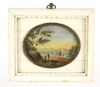 19th century oval watercolour miniature of figures before water housed in a sectional ivory frame,