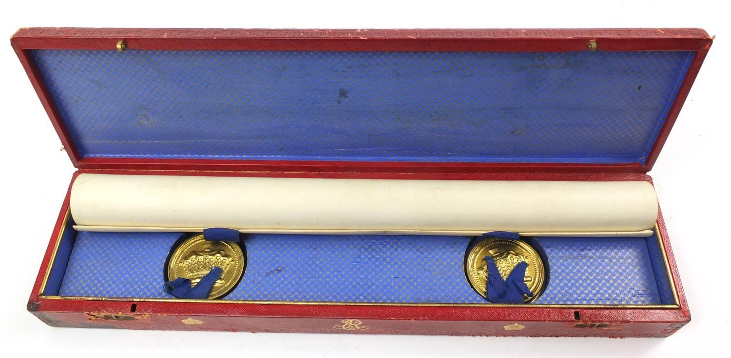 Royal interest Edward VIII Grant of Arms with wax seals and fitted tooled leather box, inscribed - Image 10 of 13