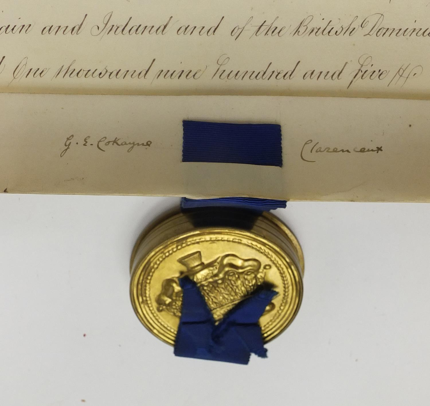 Royal interest Edward VIII Grant of Arms with wax seals and fitted tooled leather box, inscribed - Image 8 of 13