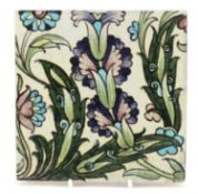 William de Morgan for Sands End, Arts & Crafts pottery tile hand painted with stylised flowers,
