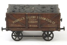 19th century railway interest advertising oak humidor in the form of a coal wagon, inscribed