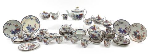 19th century Spode Tobacco Leaf dinner and teaware including two teapots, plates and cups with