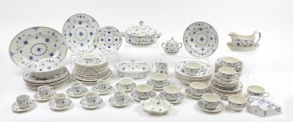 Mason's & Furnivals Danish blue dinnerware including plates and cups with saucers, the largest 36.