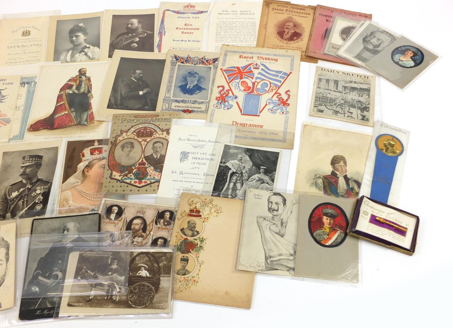 Royal and commemorative ephemera including a Queen Mary signed presentation photograph, ink - Image 7 of 9