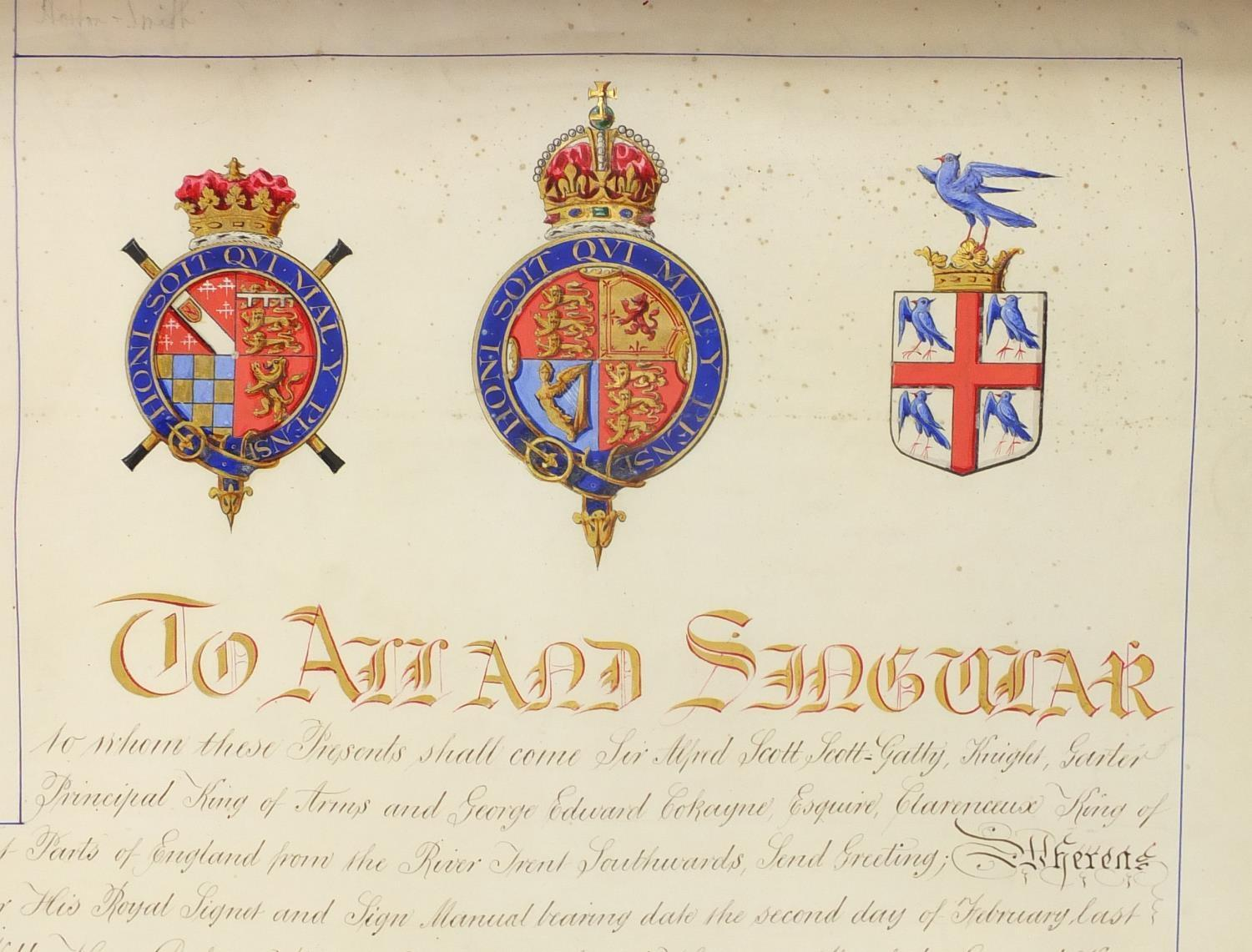 Royal interest Edward VIII Grant of Arms with wax seals and fitted tooled leather box, inscribed - Image 4 of 13