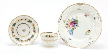 Charles Bourne, early 19th century Staffordshire cabinet plate and cup with saucer, each hand