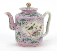 Chinese porcelain Peranakan Straits type teapot hand painted with birds amongst flowers, 12cm high