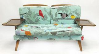 Mid century teak sofa with retro upholstery, 77cm H x 165cm W x 65cm D