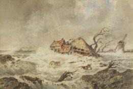 Francois Carlebur - Flooded farmland with cows in water and a windmill, 19th century Dutch School