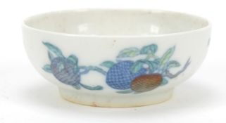 Chinese doucai porcelain shallow dish hand painted with fruit, six figure character marks to the