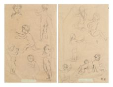 After Dorothea Sharp - Preliminary sketches of children, pair of mixed media on paper, mounted