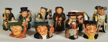 A collection of 20th Century Roy Kirkham character jugs to include Coal miner, Mr Pickwick, Sweep,