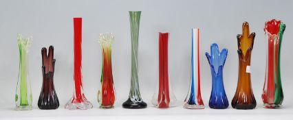 A selection of retro vintage studio art glass stem