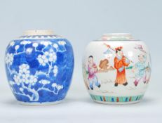 Two Chinese ginger jars to include a 19th Century jar of bulbous form hand painted with children