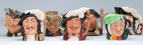 A collection of Royal Doulton character jugs to include Aramis, Sairey Gamp, Porthos, Athos, Robin